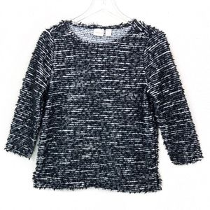 Chico's Sparkle Textured Knit 3/4 Sleeve Sweater
